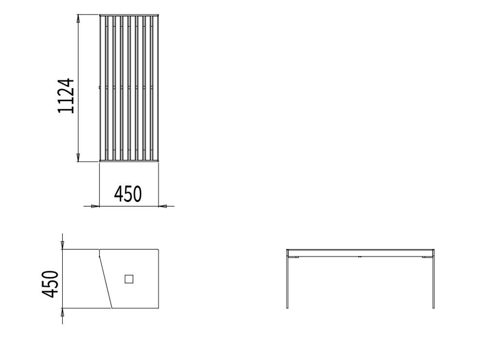 La banquette CUB mesure 1 124 mm de longueur, 450 mm de largeur et 450 mm de hauteur