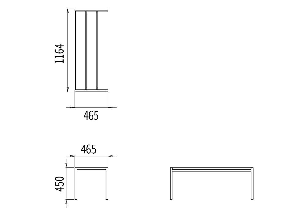 La banquette PUR mesure 1 164 mm de longueur, 465 mm de largeur et 450 mm de hauteur
