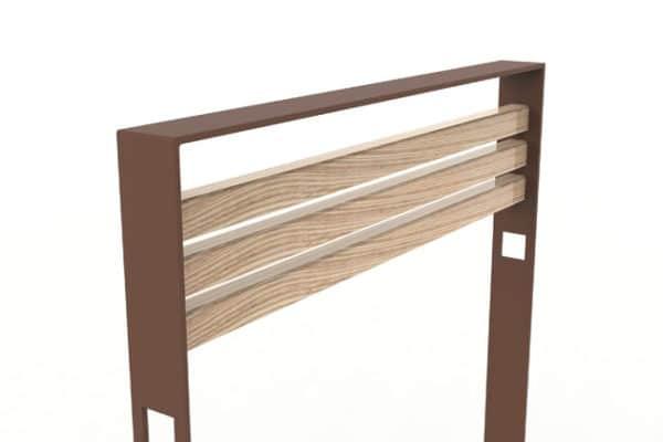 Zoom sur la structure en métal et le bois utilisés pour la barrière CUB