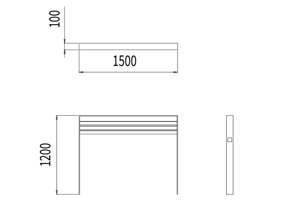 La barrière CUB mesure 1 500 mm de longueur, 100 mm de hauteur et 1 200 mm de hauteur