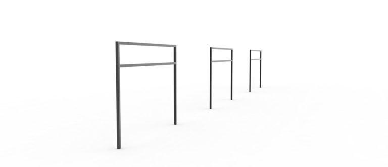 Trois barrières PUR noires alignées