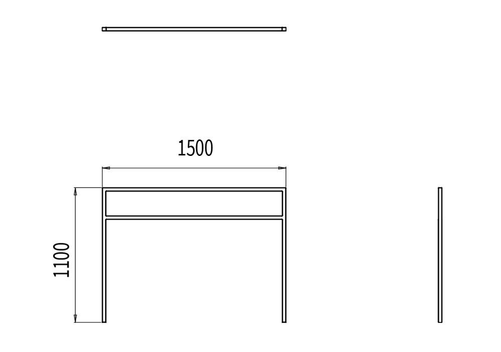 La barrière PUR mesure 1 500 mm de longueur et 1 100 mm de hauteur