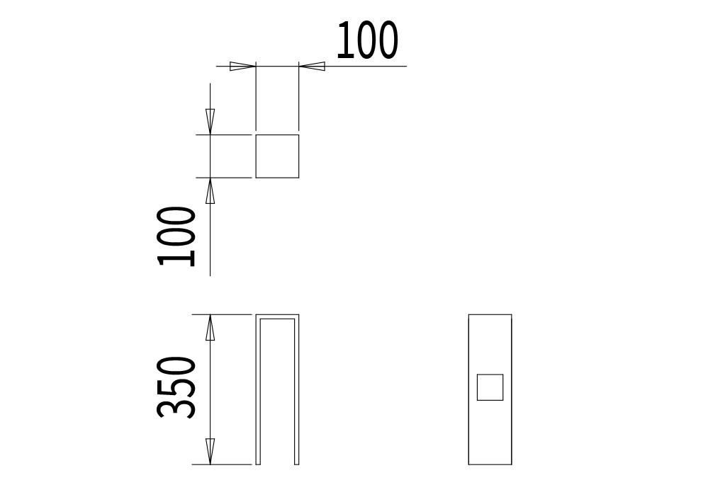 La borne CUB mesure 100 mm de la longueur, 100 mm de largeur et 350 mm de hauteur