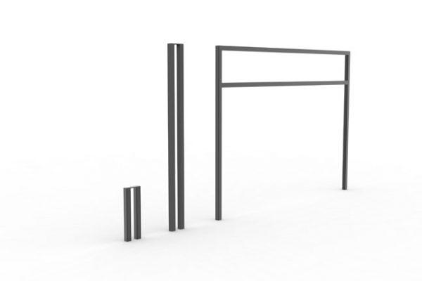 Une borne, un potelet et une barrière PUR noirs côte à côte