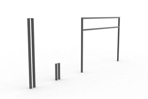 Un potelet, une borne et une barrière PUR noirs côte à côte