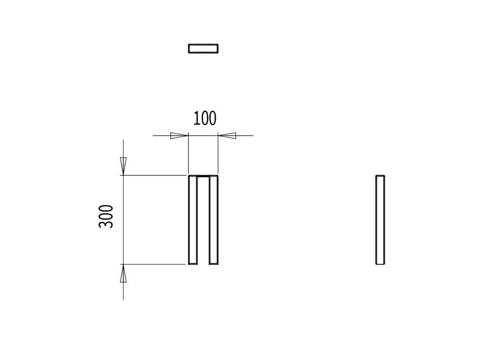 Le borne PUR mesure 100 mm de longueur et 300 mm de hauteur