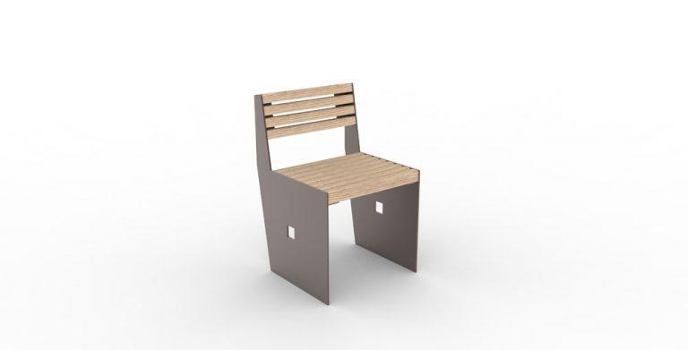 Une chaise CUB marron vue de face