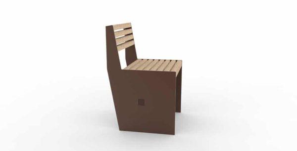 Une chaise CUB marron vue de côté
