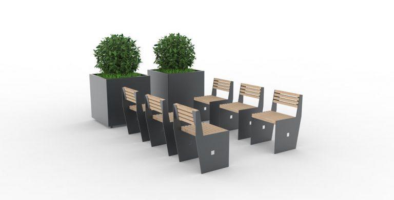 Six chaises CUB qui se font face, avec au bout deux jardinières XL CUB grises
