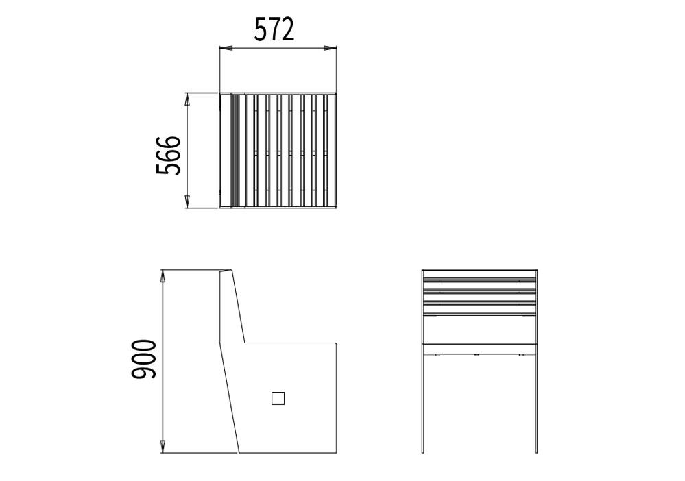 La chaise CUB mesure 566 mm de longueur, 572 mm de largeur et 900 mm de hauteur