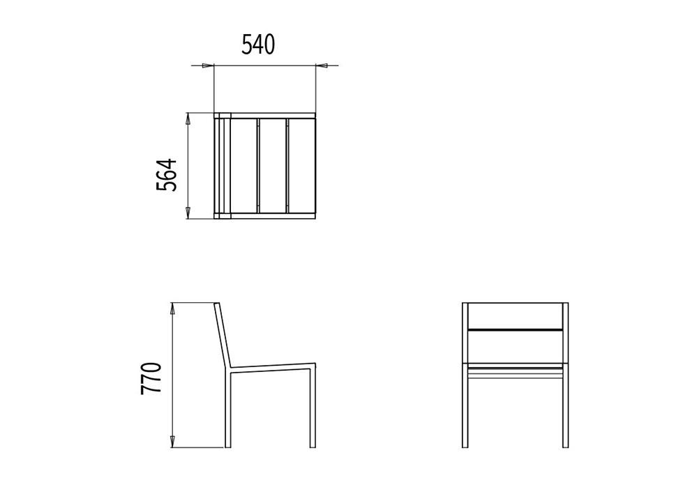 La chaise PUR mesure 564 mm de longueur, 540 mm de largeur et 770 mm de hauteur