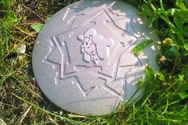 Photographie d'un clou en bronze Icare dans le sol