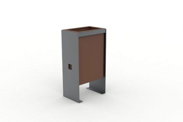 Une corbeille CUB avec une structure grise et un bac marron