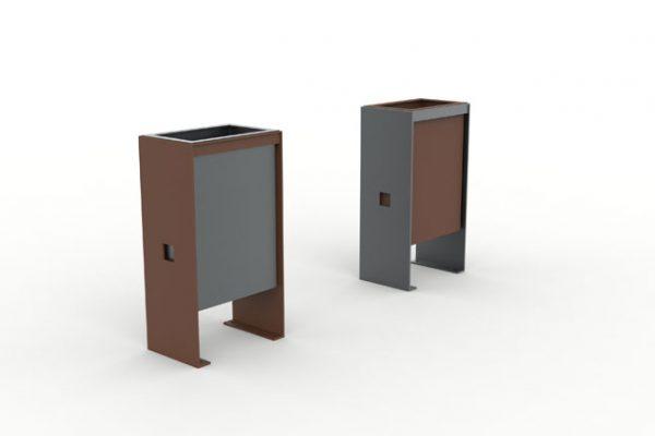 Deux corbeilles CUB : une avec une structure marron et un bac gris, et l'autre avec une structure grise avec un bac marron