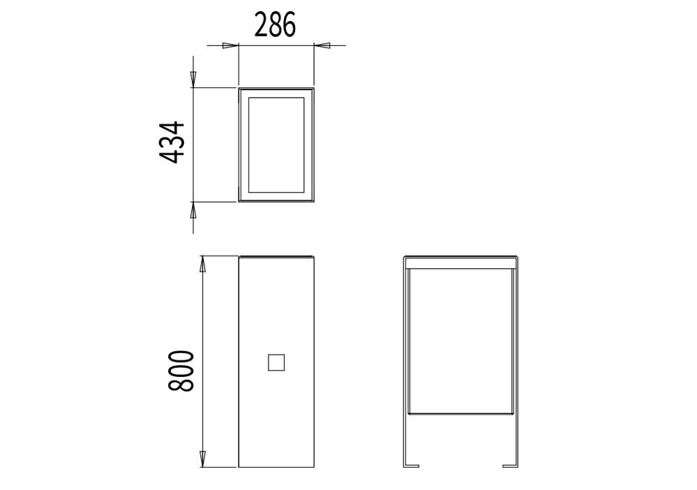 La corbeille de propreté CUB mesure 434 mm de longueur, 286 mm de largeur et 800 mm de hauteur