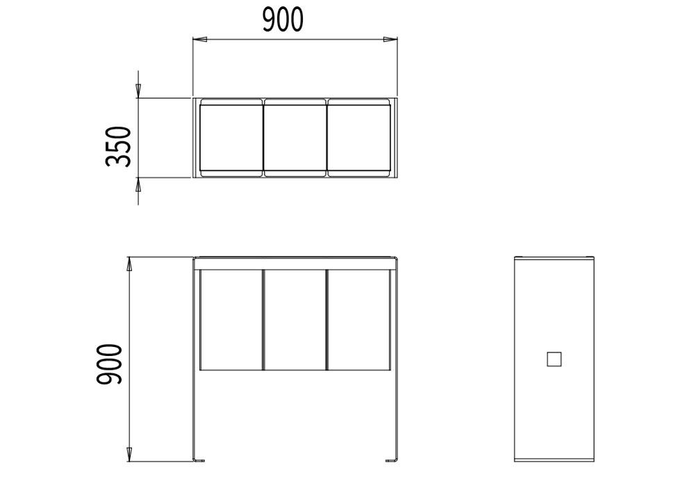 La corbeille de tri CUB mesure 900 mm de longueur, 350 mm de largeur et 900 mm de hauteur