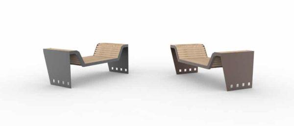 Deux divans CUB : un gris à gauche et un marron à droite