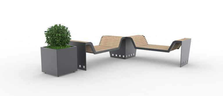 Deux divans CUB gris avec une jardinière XL au bout