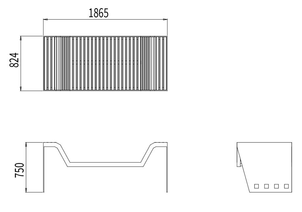 Le divan CUB mesure 1 865 mm de longueur, 824 mm de largeur et 750 mm de hauteur