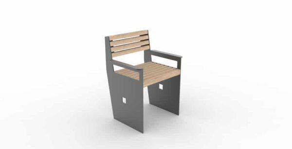 Un fauteuil CUB de couleur grise