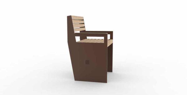 Un fauteuil CUB de couleur marron vu sur le côté