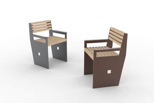 Deux fauteuils CUB : un gris à gauche et un marron à droite