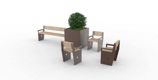 Trois fauteuils CUB gris et marron, une jardinière XL CUB marron et un banc XL CUB marron