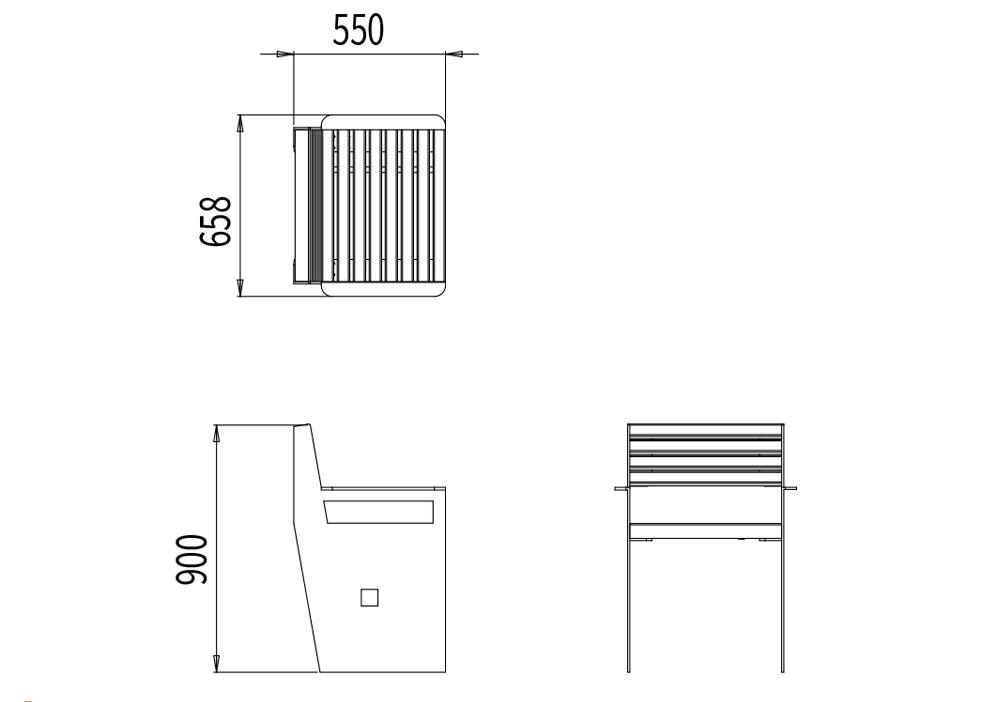 Le fauteuil CUB mesure 658 mm de longueur, 550 mm de largeur et 900 mm de hauteur