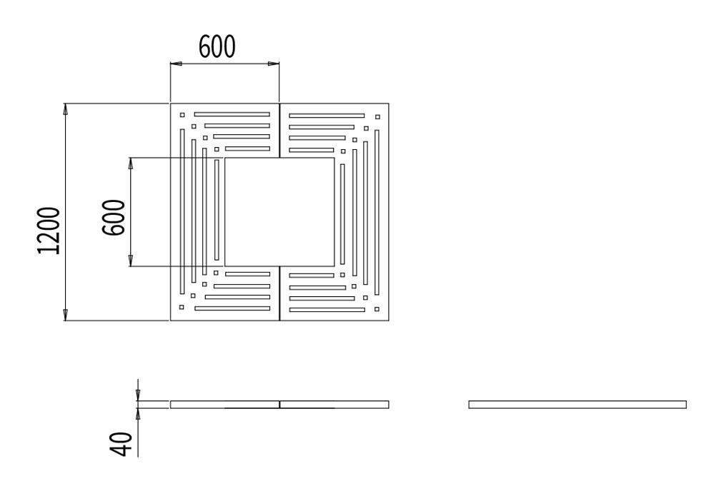 La grille d'arbre CUB mesure 1 200 mm de longueur, 1 200 mm de largeur et 40 mm de hauteur