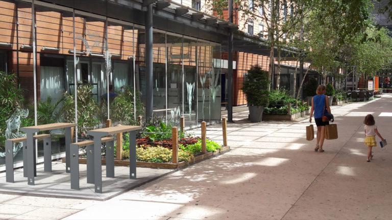 Insertion de tables bar CUB avec leurs assis-debout dans un environnement réel, ici une rue