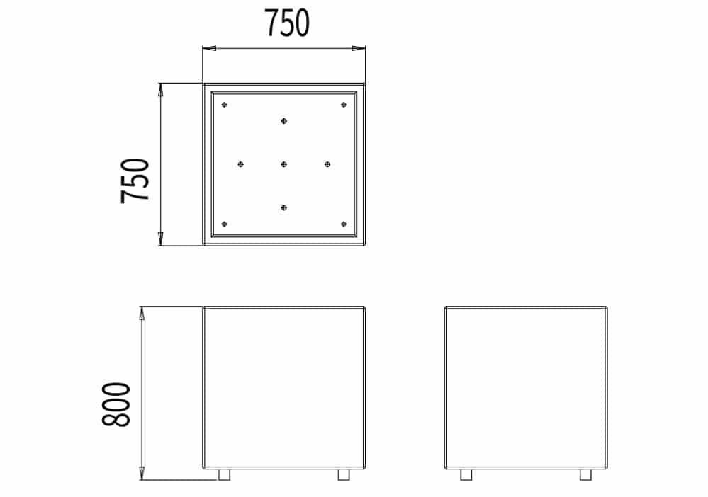 La jardinière CUB mesure 750 mm de longueur, 750 de largeur et 800 mm de hauteur