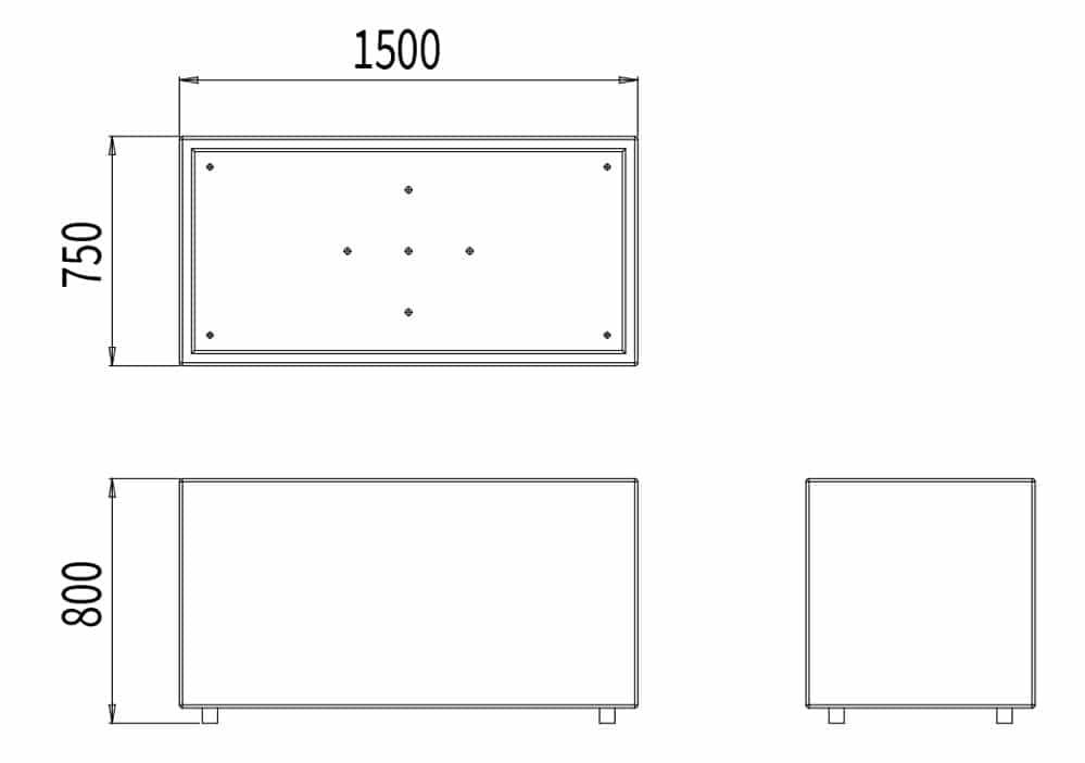 La jardinière rectangulaire mesure 1 500 mm de longueur, 750 mm de largeur et 800 mm de hauteur