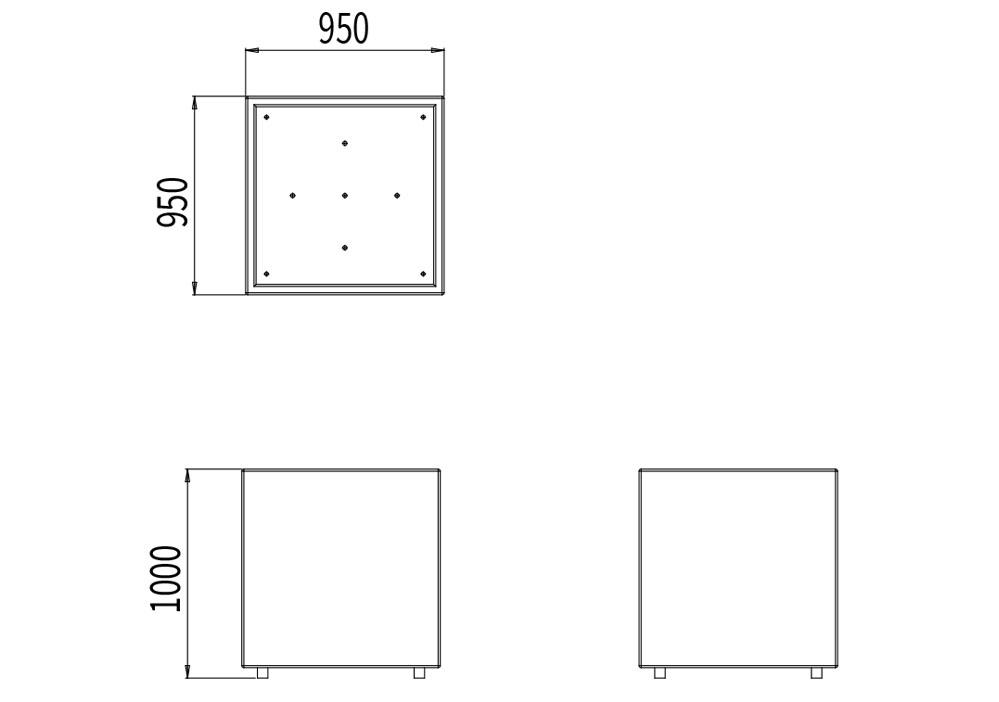 La jardinière XL CUB mesure 950 mm de longueur, 950 mm de hauteur et 1 000 mm de hauteur
