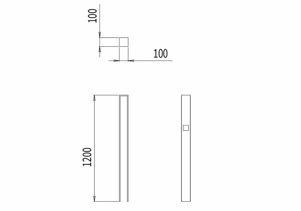 Le potelet CUB mesure 100 mm de longueur, 100 mm de largeur et 1 200 mm de hauteur