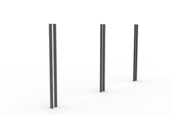 Trois potelets PUR noirs alignés