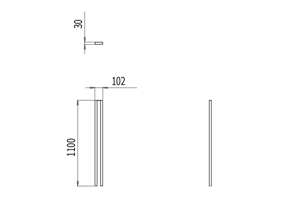 Le potelet PUR mesure 102 mm de longueur, 30 mm de largeur et 1 100 mm de hauteur