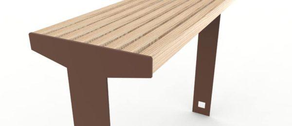 Zoom sur la structure en acier et en bois de la table bar CUB