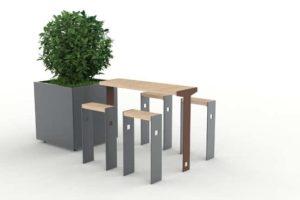 Une table bar et ses assis-debout CUB, accompagnés d'une jardinière XL