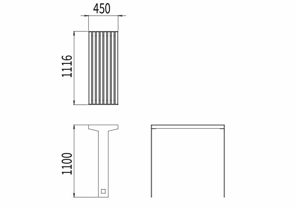 La table bar CUB mesure 1 116 mm de longueur, 450 mm de largeur et 1 100 mm de hauteur