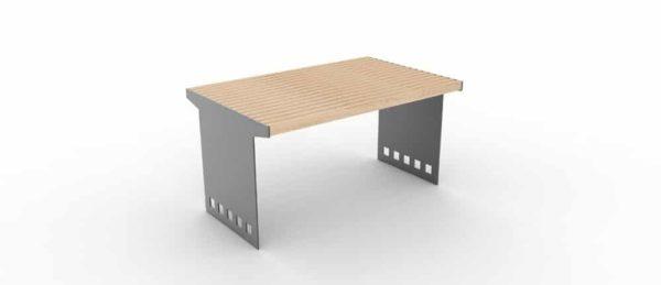 Une table CUB avec la structure en acier grise