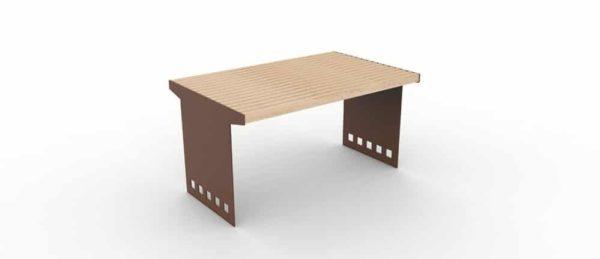 Une table CUB avec la structure en acier marron
