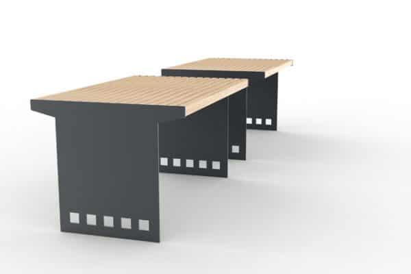 Deux tables CUB avec la structure acier grise