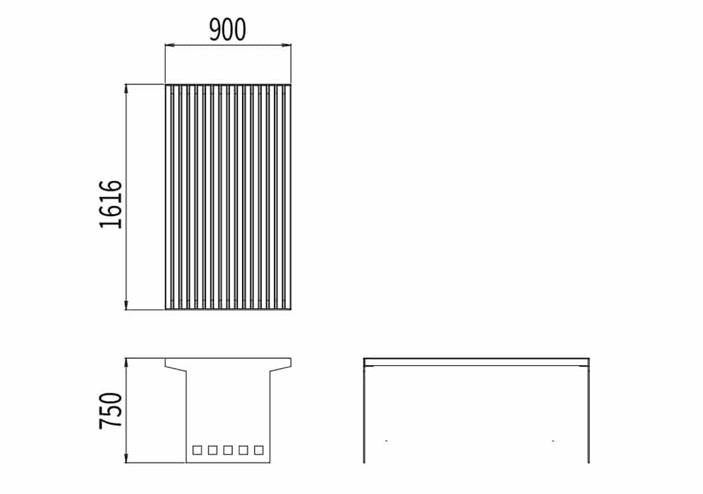 La table CUB mesure 1 616 mm de longueur, 900 mm de largeur et 750 mm de hauteur