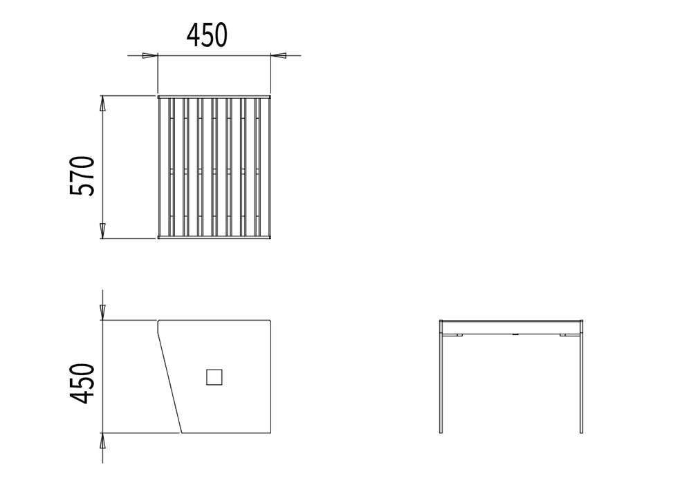 Le tabouret CUB mesure 570 mm de longueur, 450 mm de largeur et 450 mm de hauteur
