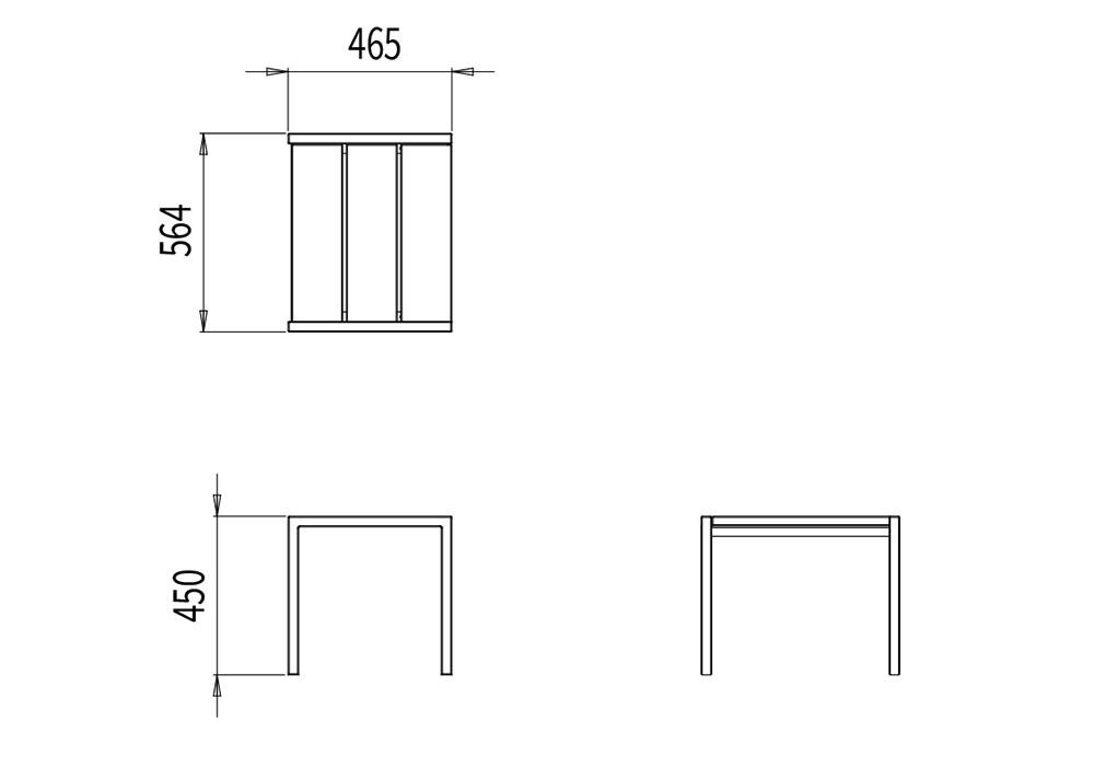 Le tabouret PUR mesure 564 mm de longueur, 465 mm de largeur et 450 mm de hauteur