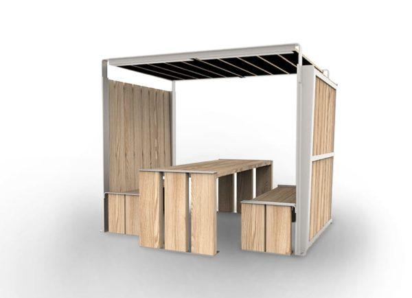 Une table abritée NUT avec ses deux bancs NUT inclus
