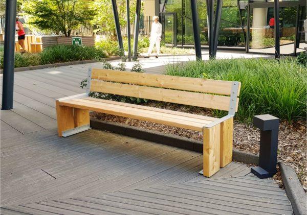 banc urbain en bois nut xl polymobyl