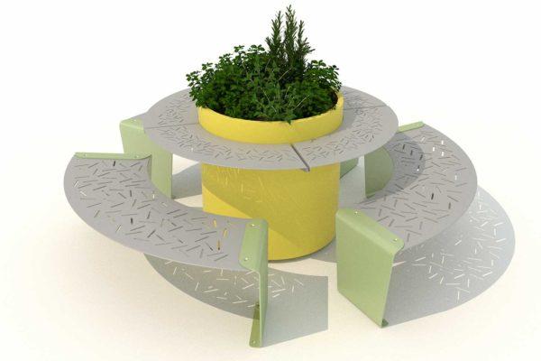 banquettes circulairesurbaine lud avec table ronde et jardinières polymobyl