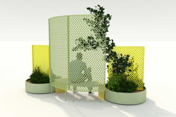 aménagement extérieur avec banquette courbe paravent et jardinières polymobyl