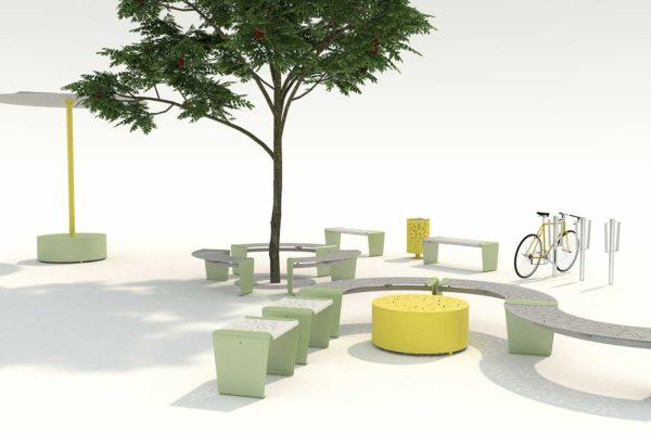 aménagement espace urbain avec banquettes circulaires jardinières et parasols polymobyl